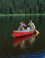 Canoeing on lake; Actual size=180 pixels wide